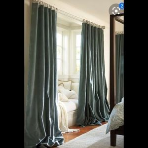 Pottery Barn Velvet Twill Curtain x 2 panels olive